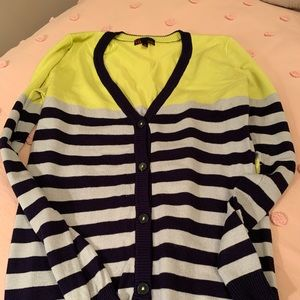 Chartreuse and navy cardigan